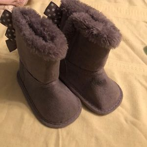 Other - Gray boots with bow backing